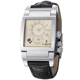 De Grisogono Men's UNODF N03 'Instrmento' Cream Dial Black Leather Strap Watch