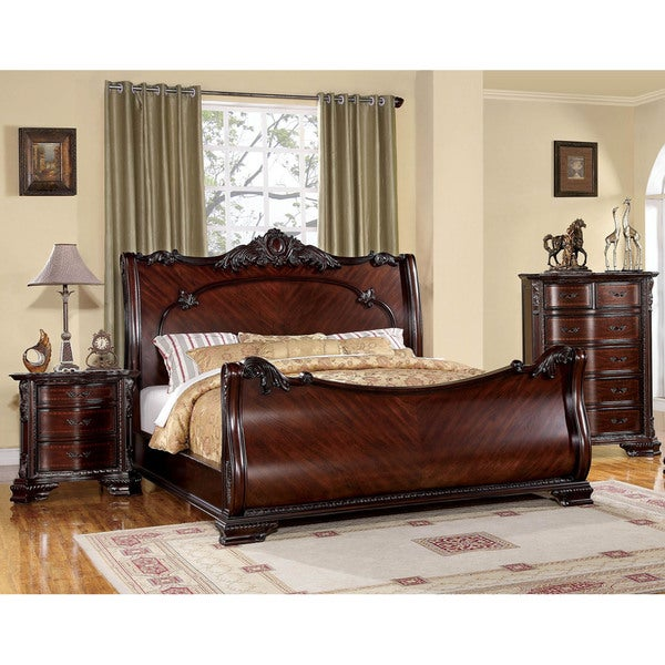 Furniture Of America Luxury Brown Cherry 3 Piece Baroque Style Bedroom Set Free Shipping Today
