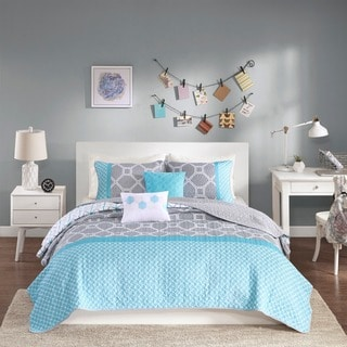 Intelligent Design Zara Aqua Coverlet Set