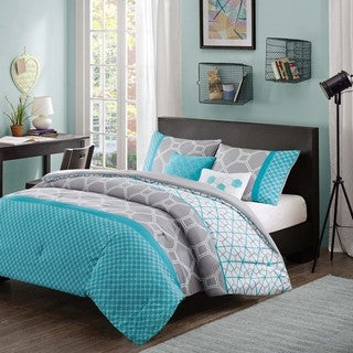 Intelligent Design Zara Blue and Grey Geometric 5-piece Comforter Set