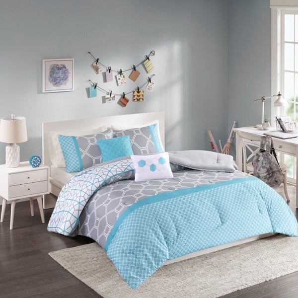 Intelligent Design Zara Blue and Grey Geometric 5-piece Comforter Set