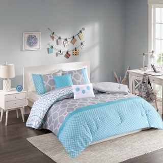 Intelligent Design Zara Blue and Grey Geometric 5-piece Comforter Set - Thumbnail 0