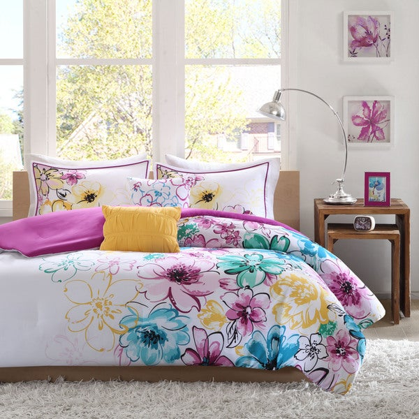 Intelligent Design Ashley Floral Microfiber 5-piece Comforter Set