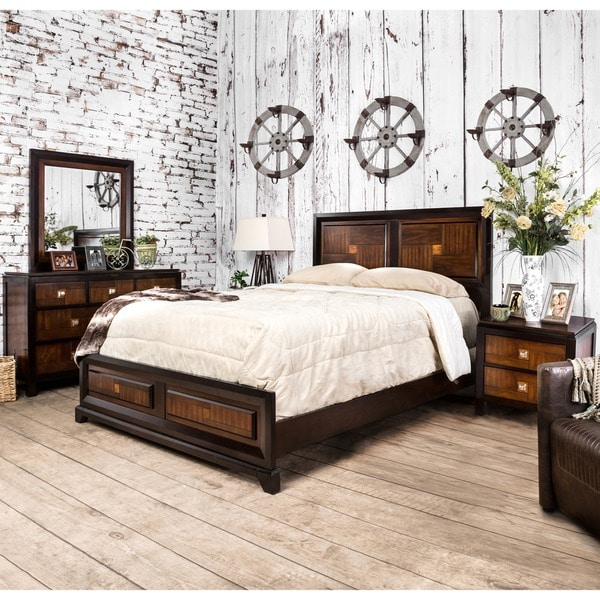 Home Goods Bedroom Furniture: Shop Duo-tone Contemporary Walnut 4-Piece Bedroom Set By