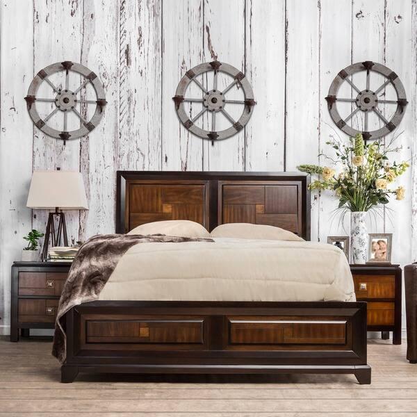 Shop Duo-tone Contemporary Walnut 4-Piece Bedroom Set by FOA ...