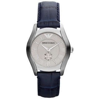 Emporio Armani Men's Classic AR1668 Blue Leather Quartz Watch with Silvertone Dial