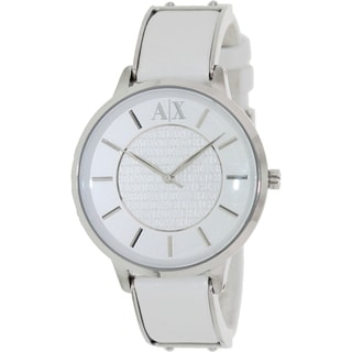 Armani Exchange Women's AX5300 White Leather Analog Quartz Watch with White Dial
