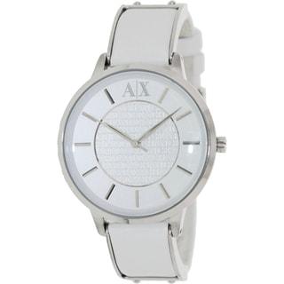 Armani Exchange Women's AX5300 White Leather Analog Quartz Watch with White Dial