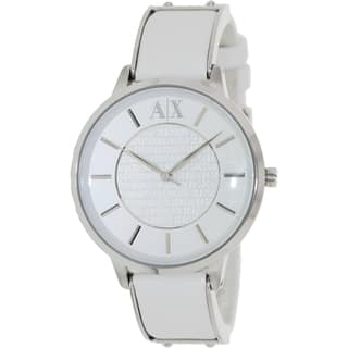 Armani Exchange Women's AX5300 White Leather Analog Quartz Watch with White Dial|https://ak1.ostkcdn.com/images/products/9239976/P16406474.jpg?impolicy=medium