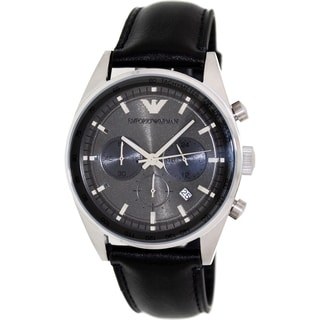 Emporio Armani Men's Sportivo AR5994 Black Leather Analog Quartz Watch with Grey Dial