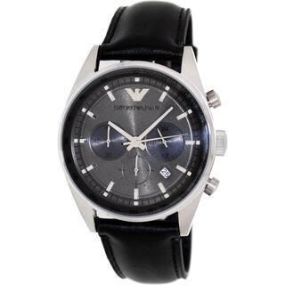 Emporio Armani Men's Sportivo AR5994 Black Leather Analog Quartz Watch with Grey Dial|https://ak1.ostkcdn.com/images/products/9239980/P16406478.jpg?impolicy=medium