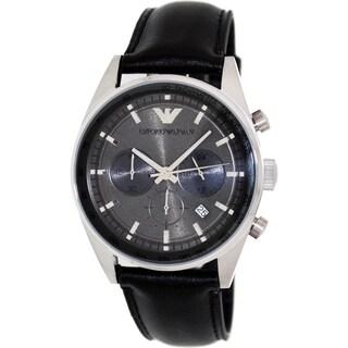 Emporio Armani Men's Sportivo AR5994 Black Leather Analog Quartz Watch with Grey Dial