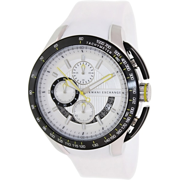 0de26564852 Shop Armani Exchange Men s White Silicone Quartz Watch with White Dial -  Free Shipping Today - Overstock.com - 9239988