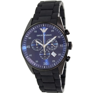 Emporio Armani Men's Sportivo AR5921 Black Silicone Quartz Watch with Blue Dial