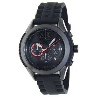 Armani Exchange Men's AX1212 Black Silicone Quartz Watch with Black Dial