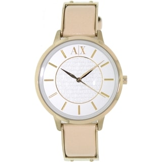 Armani Exchange Women's AX5301 Beige Leather Quartz Watch with White Dial