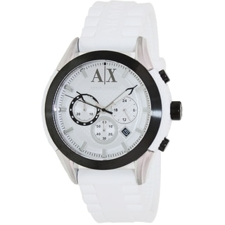 Armani Exchange Men's AX1225 White Silicone Quartz Watch with White Dial