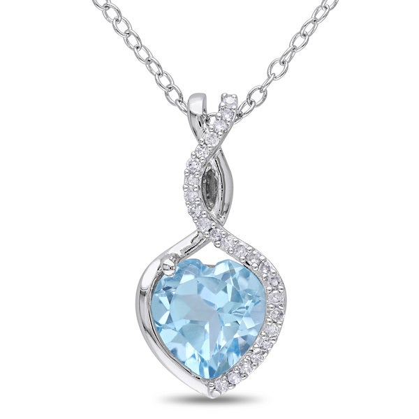 Miadora Silver Blue Topaz and 1/10ct TDW Diamond Heart Necklace (H-I, I2-I3)