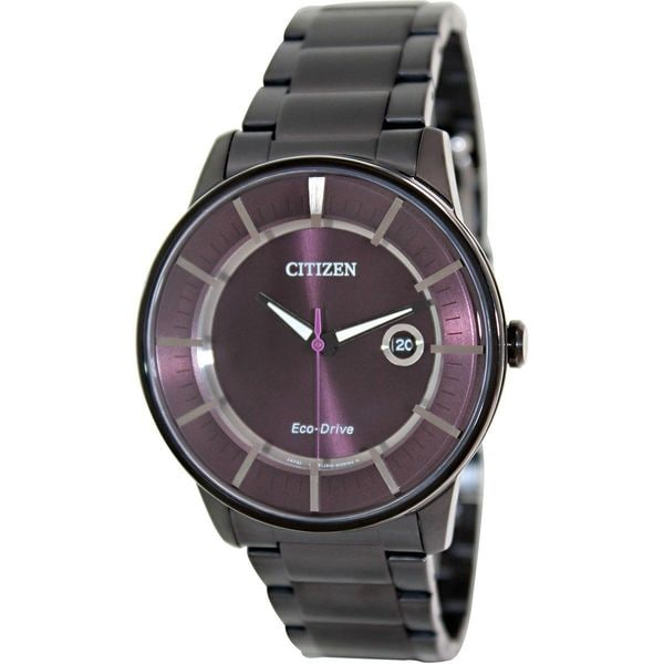 c5838249a24ae Shop Citizen Men s Eco-Drive Black Stainless Steel Eco-Drive Watch with Black  Dial - Free Shipping Today - Overstock - 9240078