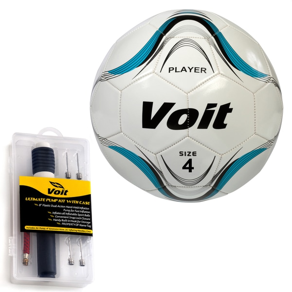 Voit Size 4 Player Soccer Ball with Ultimate Inflating Kit - White and Blue Graphic