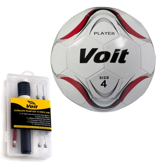 Voit Size 4 Player Soccer Ball with Ultimate Inflating Kit - White and Red Graphic