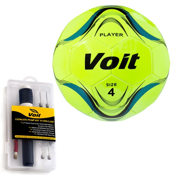 Voit Player Size 4 Neon Yellow Soccer Ball with Ultimate Inflating Kit