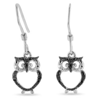 Sterling Silver Diamond Accent Owl Earrings