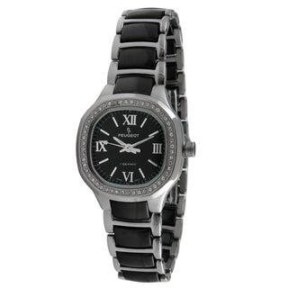 Peugeot Women's PS4906BS Swiss Ceramic Black and Silver Crystal Watch