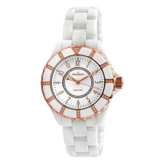 Peugeot Women's PS4893WT Swiss White and Rose Goldtone Ceramic Watch