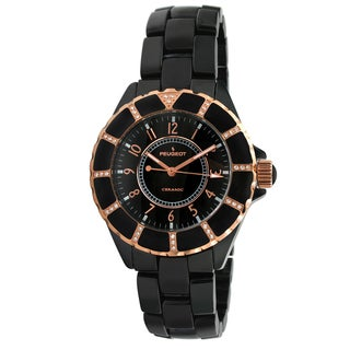 Peugeot Women's Swiss PS4893BK Black Rose Gold Ceramic Watch