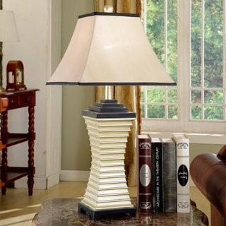 White, Silver and Black Modern Table Lamp