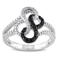 Miadora TuxedoSterling Silver Black and White Diamond Infinity Ring