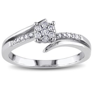 Miadora 10k White Gold 1/5ct TDW Diamond Cluster Promise Ring