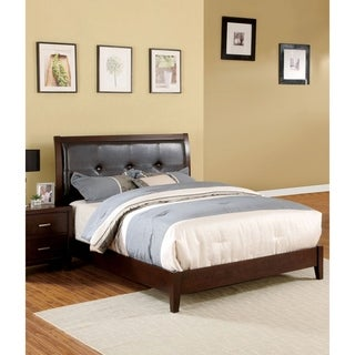 Furniture of America Malt Traditional Cherry Faux Leather Platform Bed