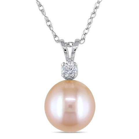Miadora 14k White Gold Cultured Pearl and Created White Sapphire Necklace (9-9.5 mm)