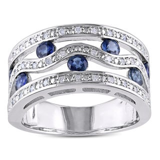 Miadora Silver 1ct TGW Sapphire and 1/5ct TDW Diamond Ring (H-I, I2-I3)