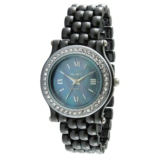 Peugeot Women's Swiss Ceramic Black Crystal Bezel Watch