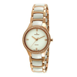 Peugeot Women's Swiss PS4904WR Ceramic Rose Goldtone Crystal Accent Watch