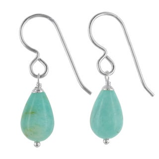 Ashanti Sterling Silver Aqua Amazonite Gemstone Handmade Earrings (Sri Lanka)