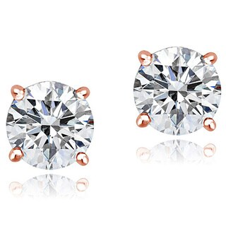 Icz Stonez Platinum Plated Sterling Silver 2ct TGW 100 Facets Cubic Zirconia Stud Earrings