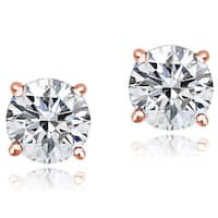 Icz Stonez Sterling Silver 2ct 100 Facets Cubic Zirconia Stud Earrings, 6.5mm