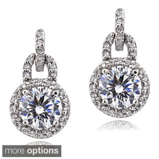 Icz Stonez Platinum Plated Sterling Silver 2 1/4ct TGW 100 Facets Cubic Zirconia Dangle Earrings