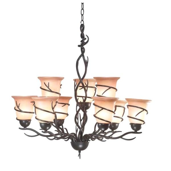 Pine Canopy Lincoln Blackened Bronze 9-light Chandelier
