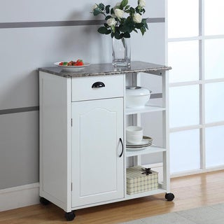 Wood/ Marble White Kitchen Cart - Thumbnail 0