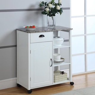 Wood/ Marble White Kitchen Cart