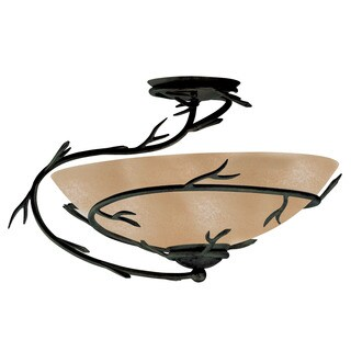Pine Canopy Lincoln Blackened Bronze 1-light Semi-flush Mount