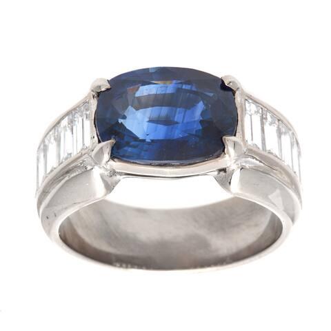 Platinum 1 3/5ct TDW Oval Sapphire Estate Ring (G-H, VS1-VS2)