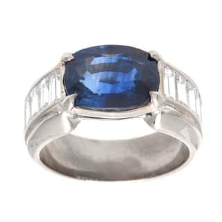 Pre-owned Platinum 1 3/5ct TDW Oval Sapphire Estate Ring (G-H, VS1-VS2)|https://ak1.ostkcdn.com/images/products/9240210/P16406308.jpg?impolicy=medium