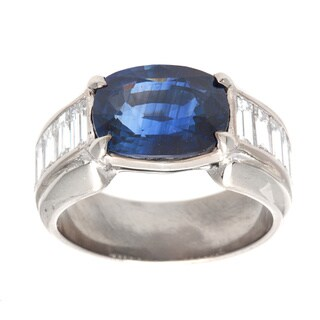 Pre-owned Platinum 1 3/5ct TDW Oval Sapphire Estate Ring (G-H, VS1-VS2)