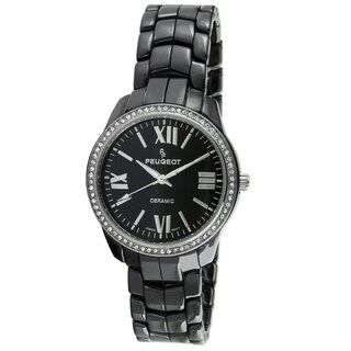 Peugeot Women's Swiss Black Ceramic Crystal Bezel Watch